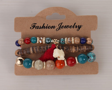 Twisted Wire Multi-Layered Wood & Bead Bracelets with Tassel3