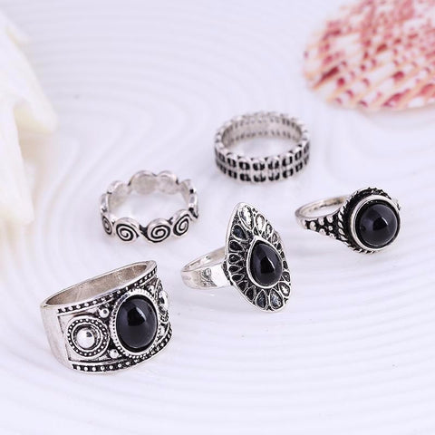 Black Stone 5 Ring Set in Silver