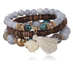 Twisted Wire Multi-Layered Wood & Bead Bracelets with Tassel
