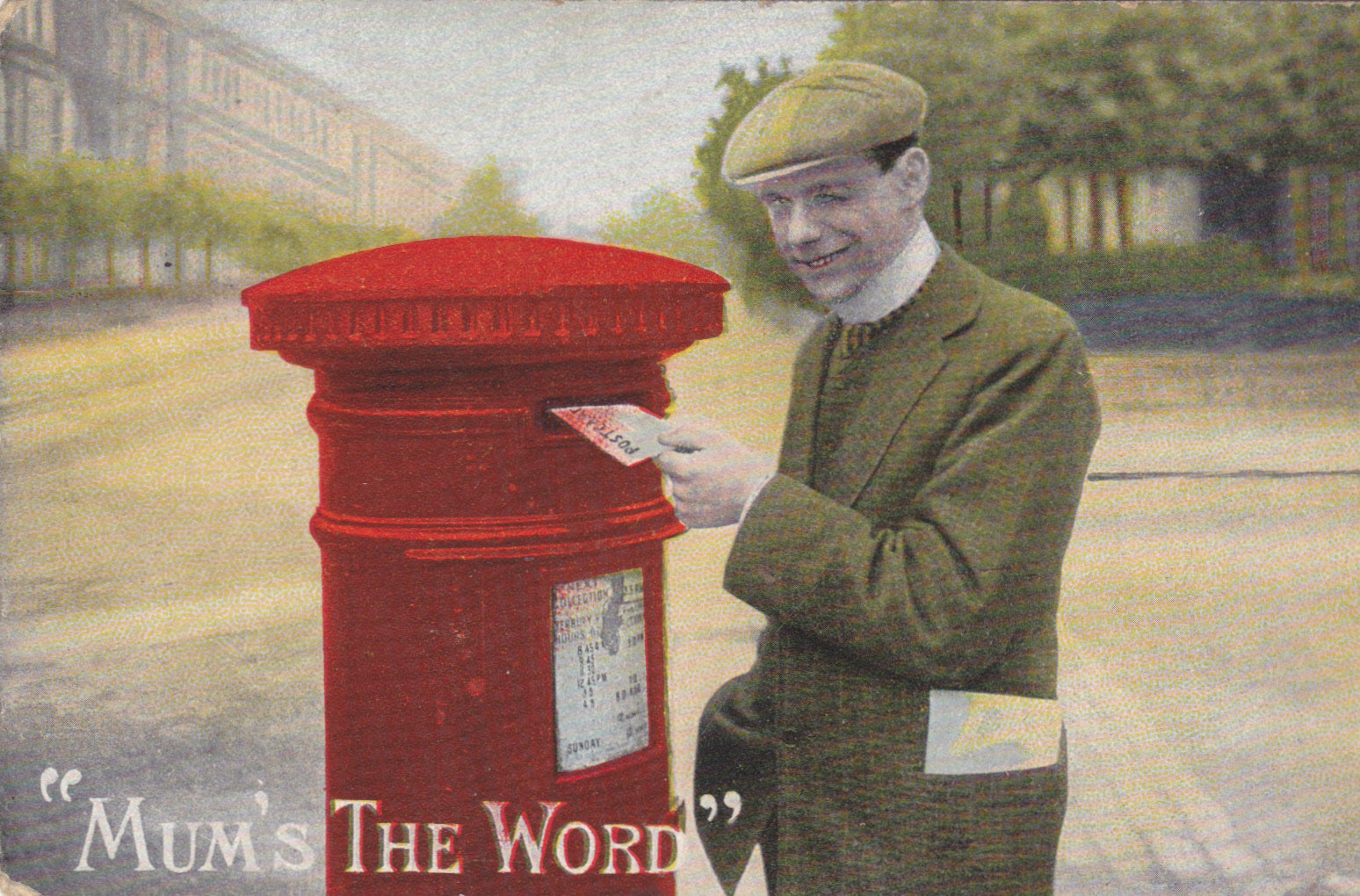 Vintage post box postcard