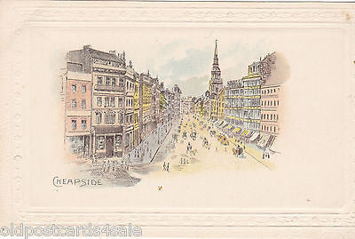 CHEAPSIDE, LONDON - PRE 1918 EMBOSSED POSTCARD (ref 4615/12)