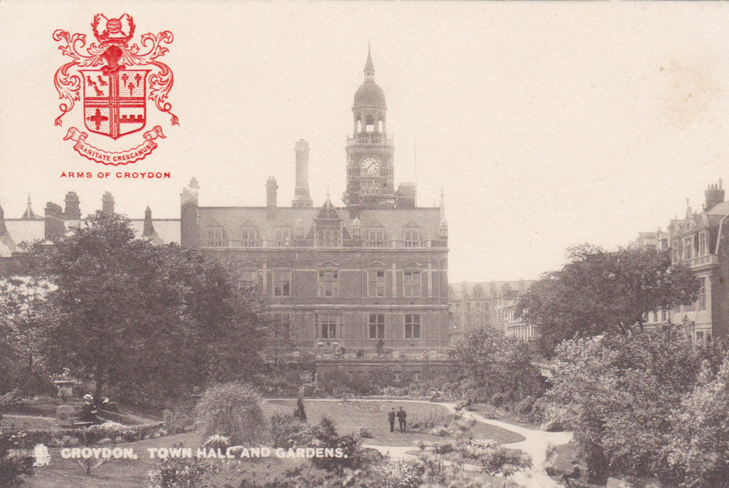 Town Hall, Croydon, coat of arms vintage postcard