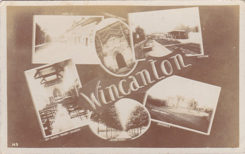 1906 WINCANTON MULTI VIEW REAL PHOTO POSTCARD, SHOWS STATION