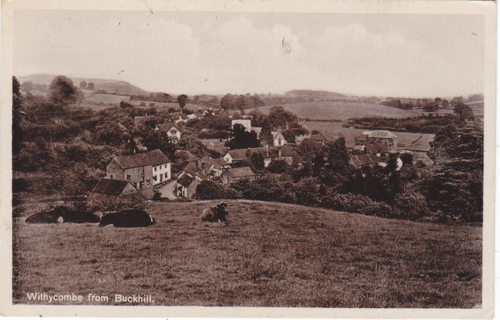WITHYCOMBE FROM BUCKHILL - 1940s REAL PHOTO POSTCARD (ref 4341)