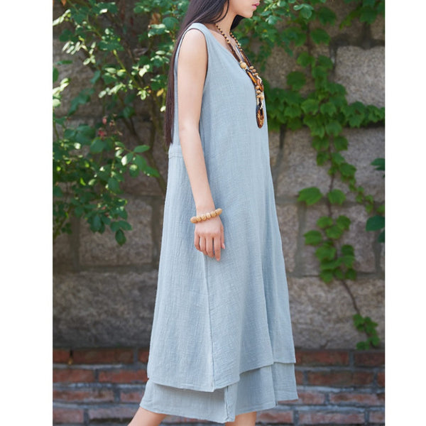 Tiered Sleeveless Summer Dress