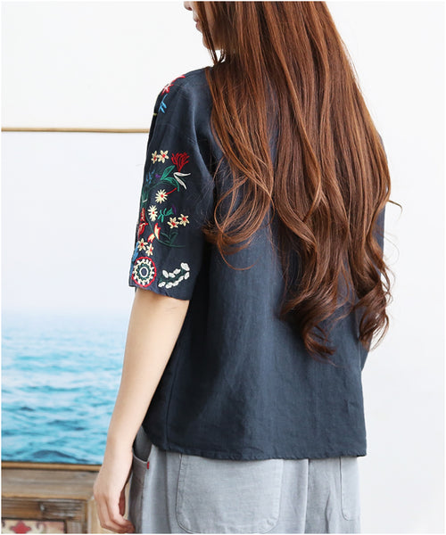 Floral Embroidered Cotton Summer Shirt