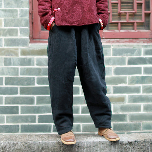 Thick Warm Padded Cotton Linen Pants