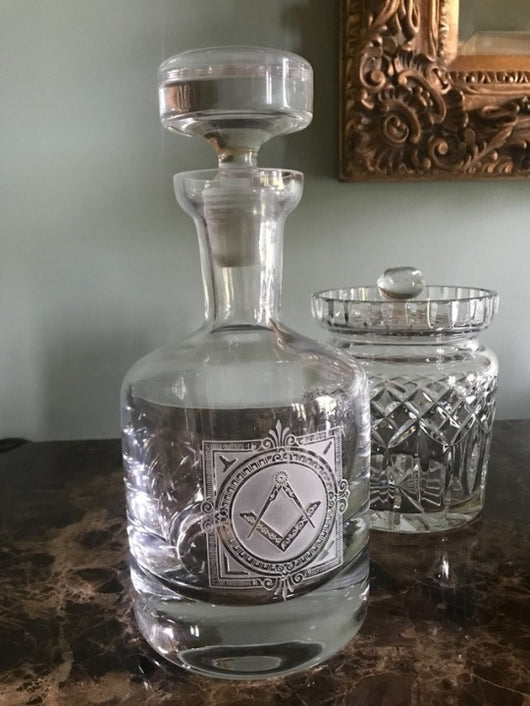 Deep-Carved Masonic Decanter