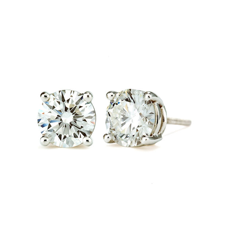 14K White Gold Round Cut Stud Earrings