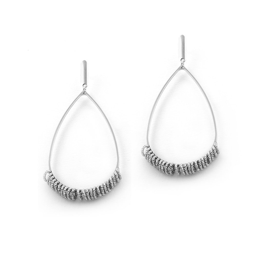 .925 Silver Drop Hoop Earrings