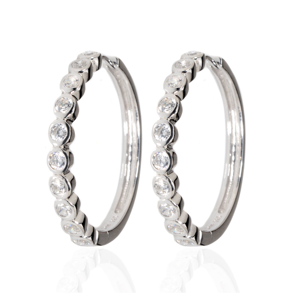 NEW 3.8 Carat Sterling Silver CZ Hoops