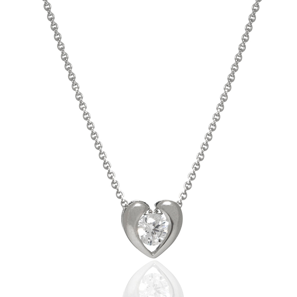 Sterling Silver CZ Heart Pendant Necklace