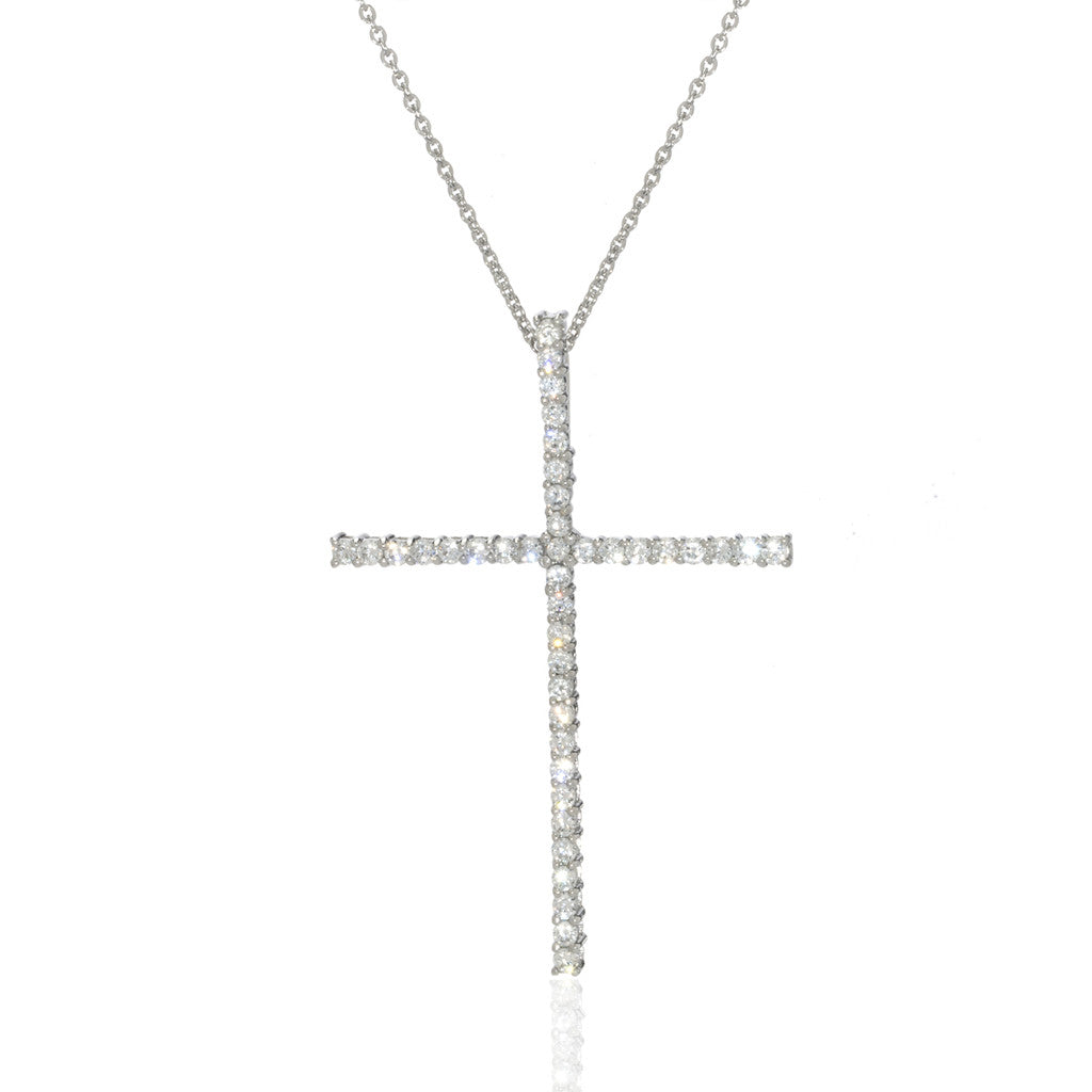 Sterling Silver Large Cubic Zirconia Round Cross