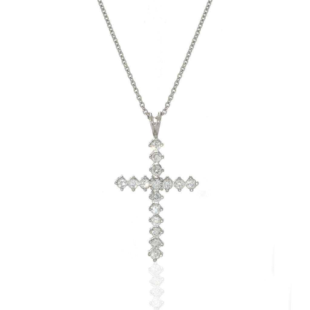 Sterling Silver Small Cubic Zirconia Round Cross