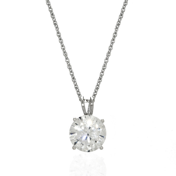 Sterling Silver Cubic Zirconia Round Pendant