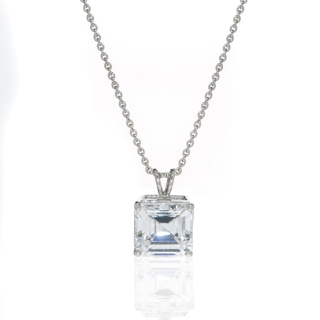 4 CT Sterling Silver & Cubic Zirconia Asscher Cut Necklace