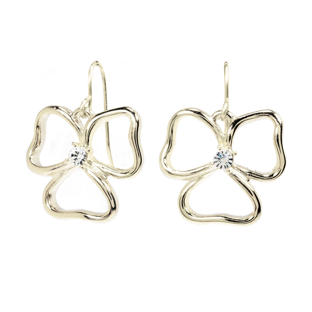 Silvertone Open Heart Drop Earrings