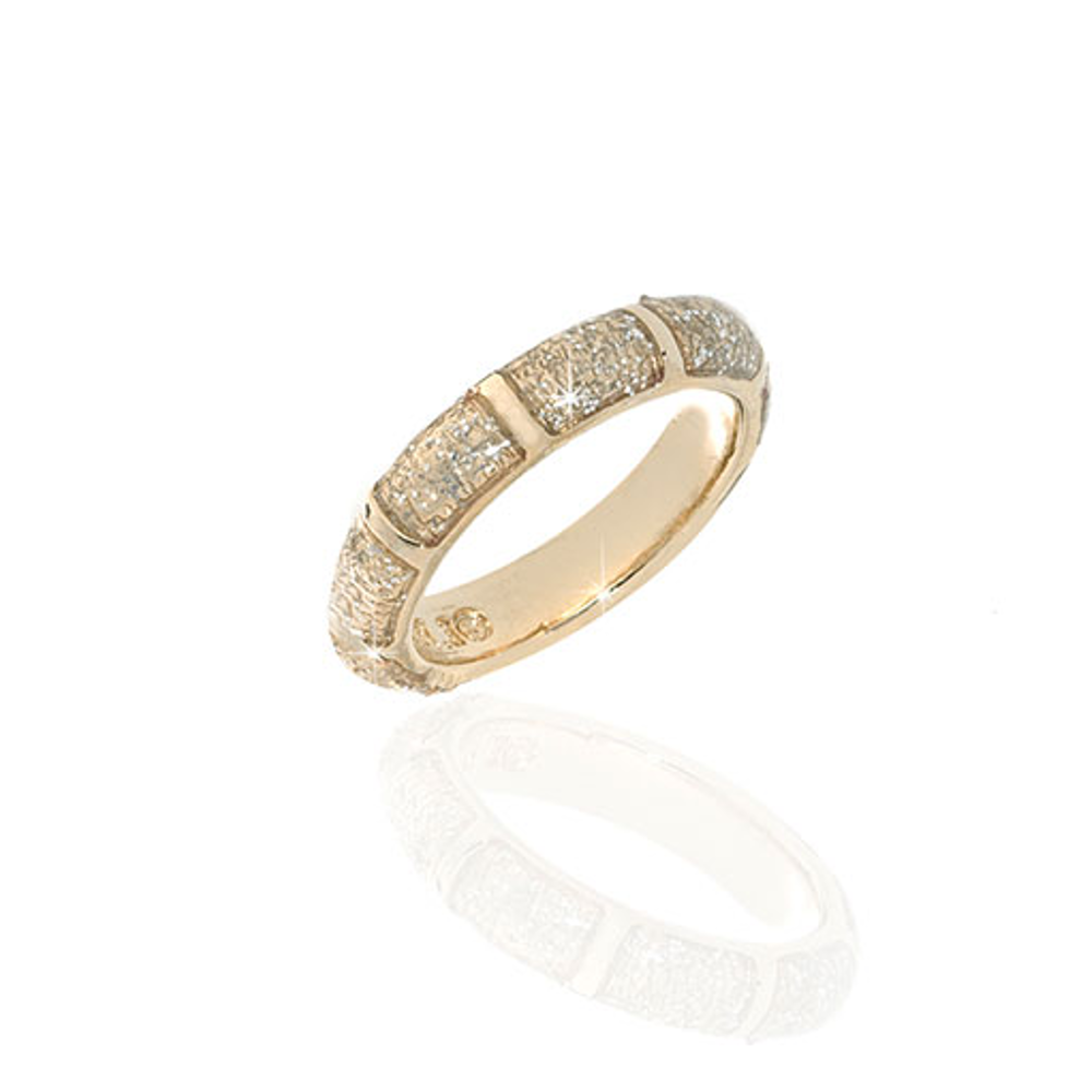 Gold Stardust Segmented Bamboo Ring