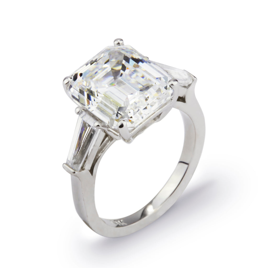 6.5CT 14k White Gold Asscher Cut Ring With Baguettes
