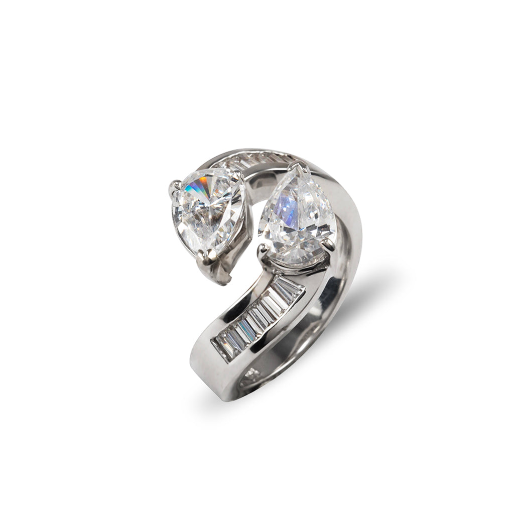 14k White Gold Dual Pair with Baguettes Ring