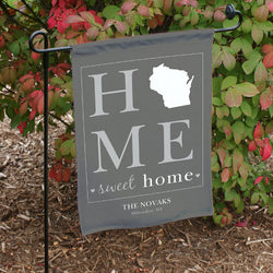 Personalized Home Sweet Home Welcome Garden Flag-Black or Brown-State Flag