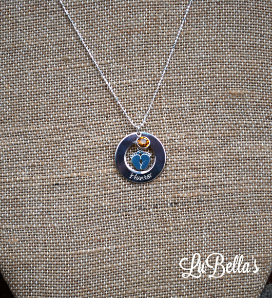Personalized Baby Feet Necklace with Birthstone-Engraved Baby Feet Necklace with Birthstone-New Mom Necklace