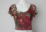 Crop top - size Large - ice dye - Raspberry Brownie crinkle
