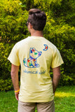 Pastel Yellow Short Sleeve with Palm Tree Pattern - Whimsical Wolf