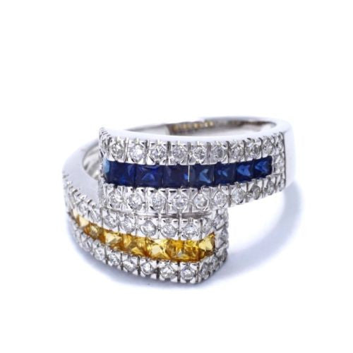 18K White Gold DIAMOND 0.6 TCW RING w/ Blue & Yellow 1.17 TCW DIAMONDS Size 7.5