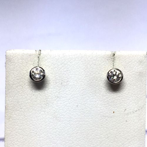 18K Solid White Gold DIAMOND STUDS EARRINGS 0.33 TCW