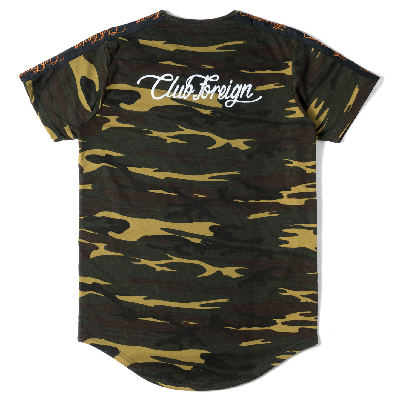 Club Foreign Performance Longline T-shirt Camo Green - Trends Society
