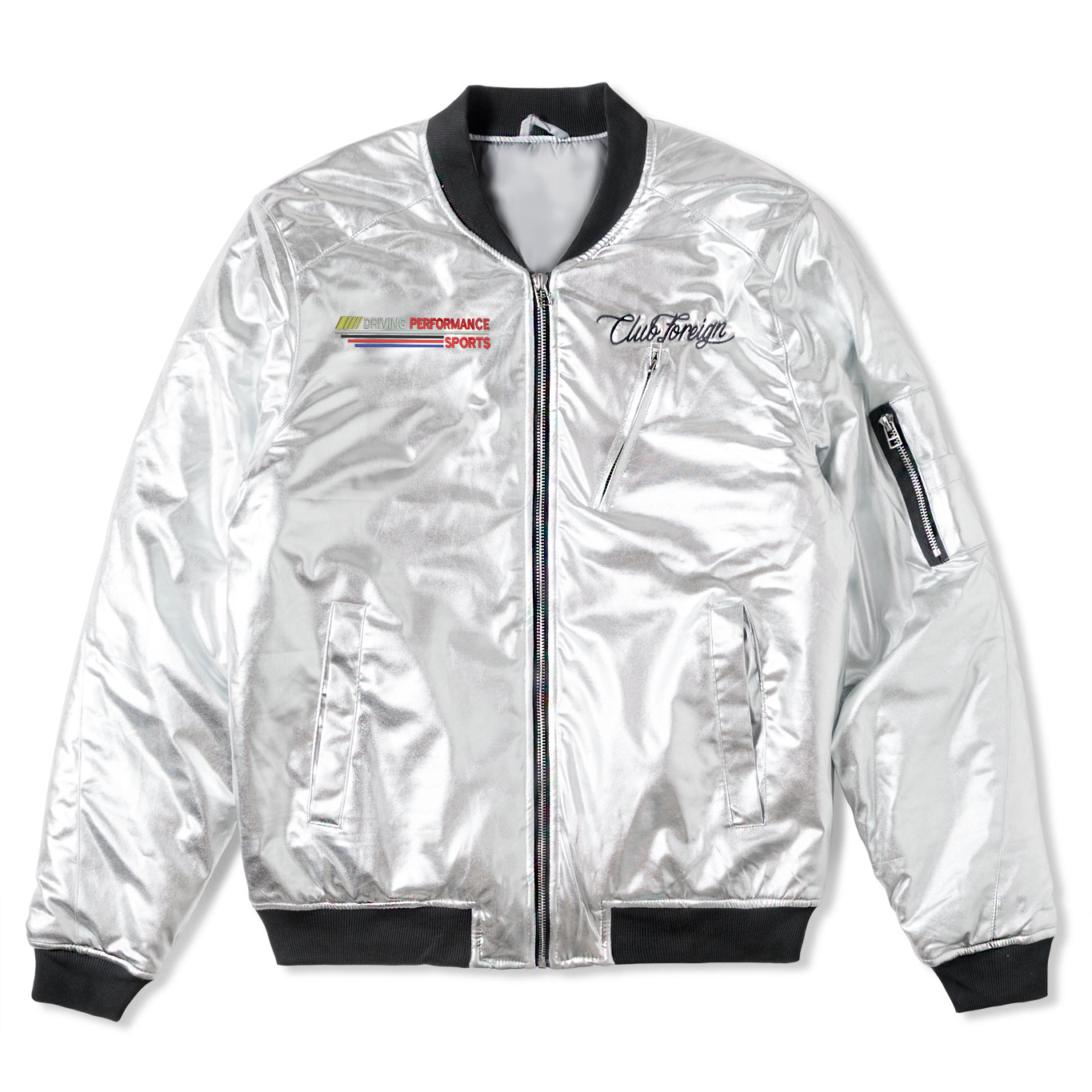 Club Foreign Bomber Jacket Party Edition Silver - Trends Society
