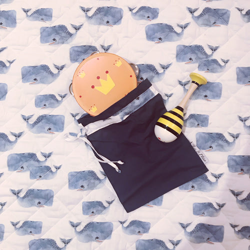 Toy Bag - Navy with Whale Trim