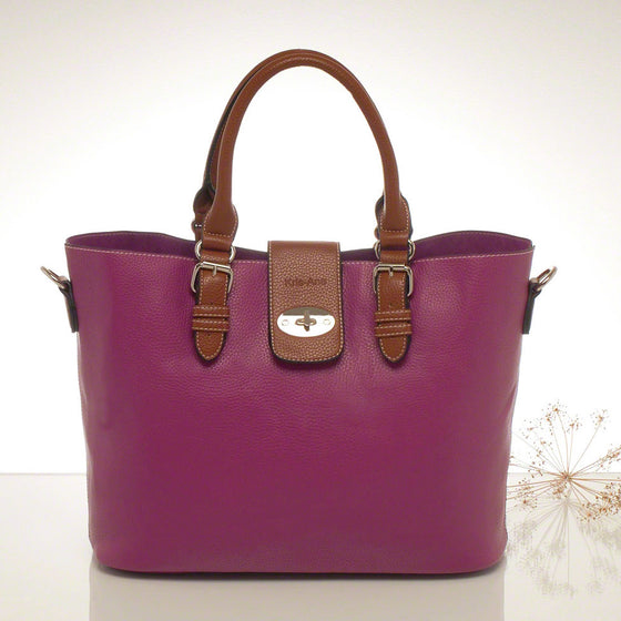 Kris-ana prune hand or shoulder tote with matching clutch set