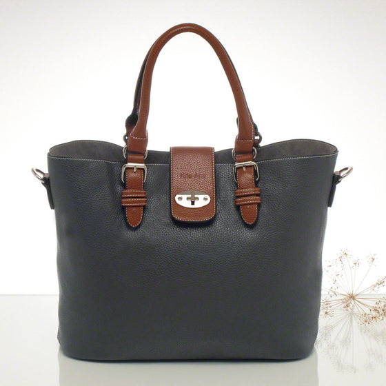 Kris-ana grey hand or shoulder tote with matching clutch set