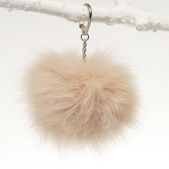 Soft beige luxury fox fur fob for bag, tote and luggage