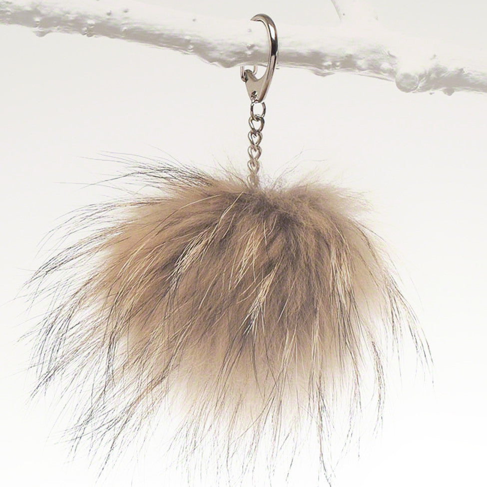 Luxury raccoon fur fob for bag, tote and luggage