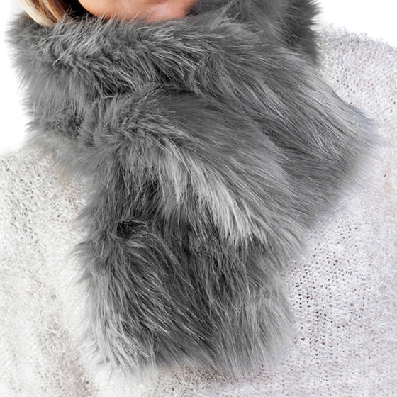 Grey frost faux fur ruffle scarf with velvet lining
