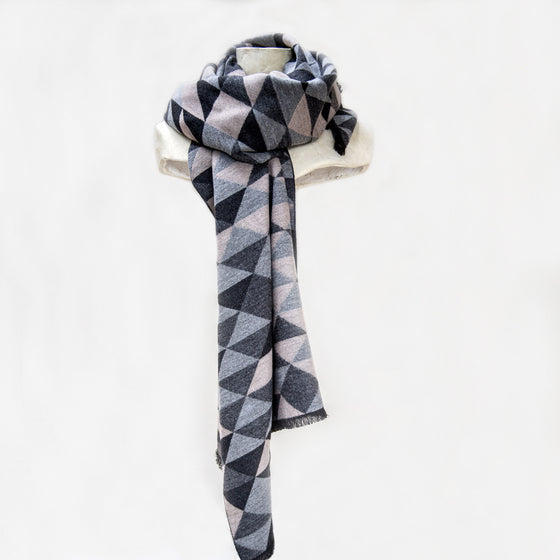 Tutti grey/charcoal/taupe geometric wrap - Ellimonelli