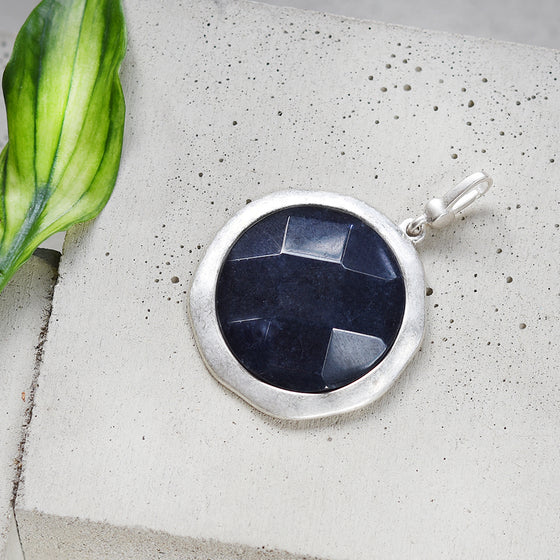 Tutti antique silver finish large navy faceted stone charm - Ellimonelli