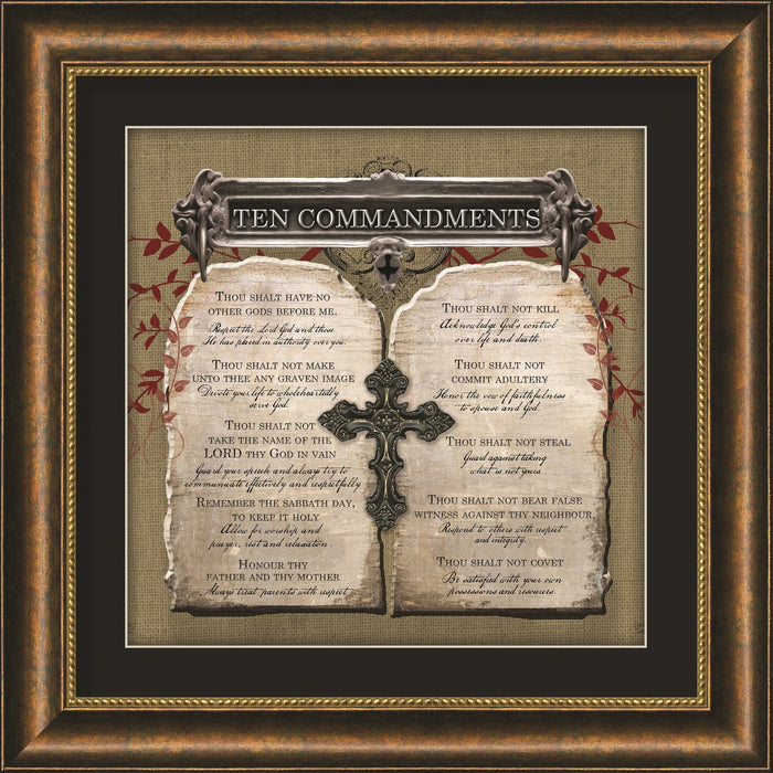 ten commandments square framed art
