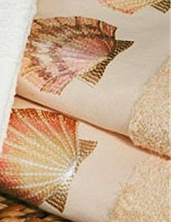 Embroidered Pink Sea Scallop Cornsilk Terry Tip Towel Set