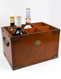 Brass Trim Wood Wine Box