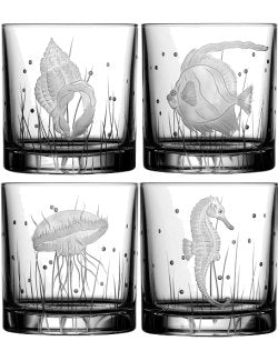 Sea Creatures Hand Engraved Varga Crystal 6-Pc. DOF/Rocks Glass Sets