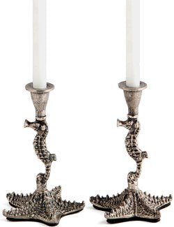 Rustic Seahorse Candlestick Set