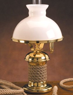 traditional desk lamp with nautical rope design