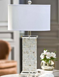 Mother of Pearl Flat Column Table Lamp