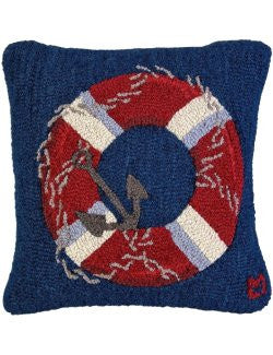 Hooked Wool Life Ring Pillow