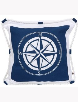 Life Ring Roped Compass Rose Pillow