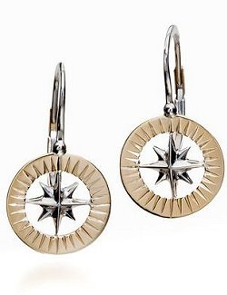 Waypoints 14k Yellow/White Gold Petite Compass Rose Earrings